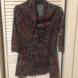 Women's faux scarf print top, 3/4 length sleeves.